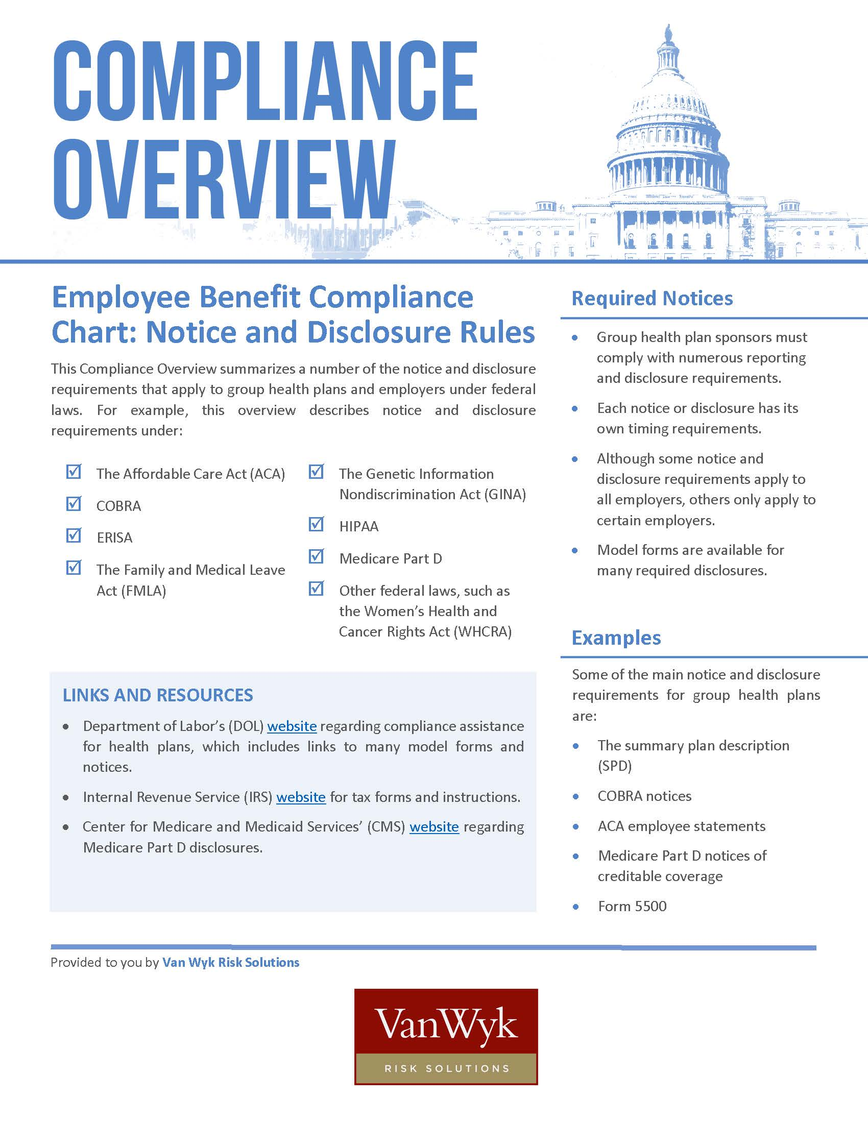 Employee Benefit Compliance Chart: Notice and Disclosure Rules