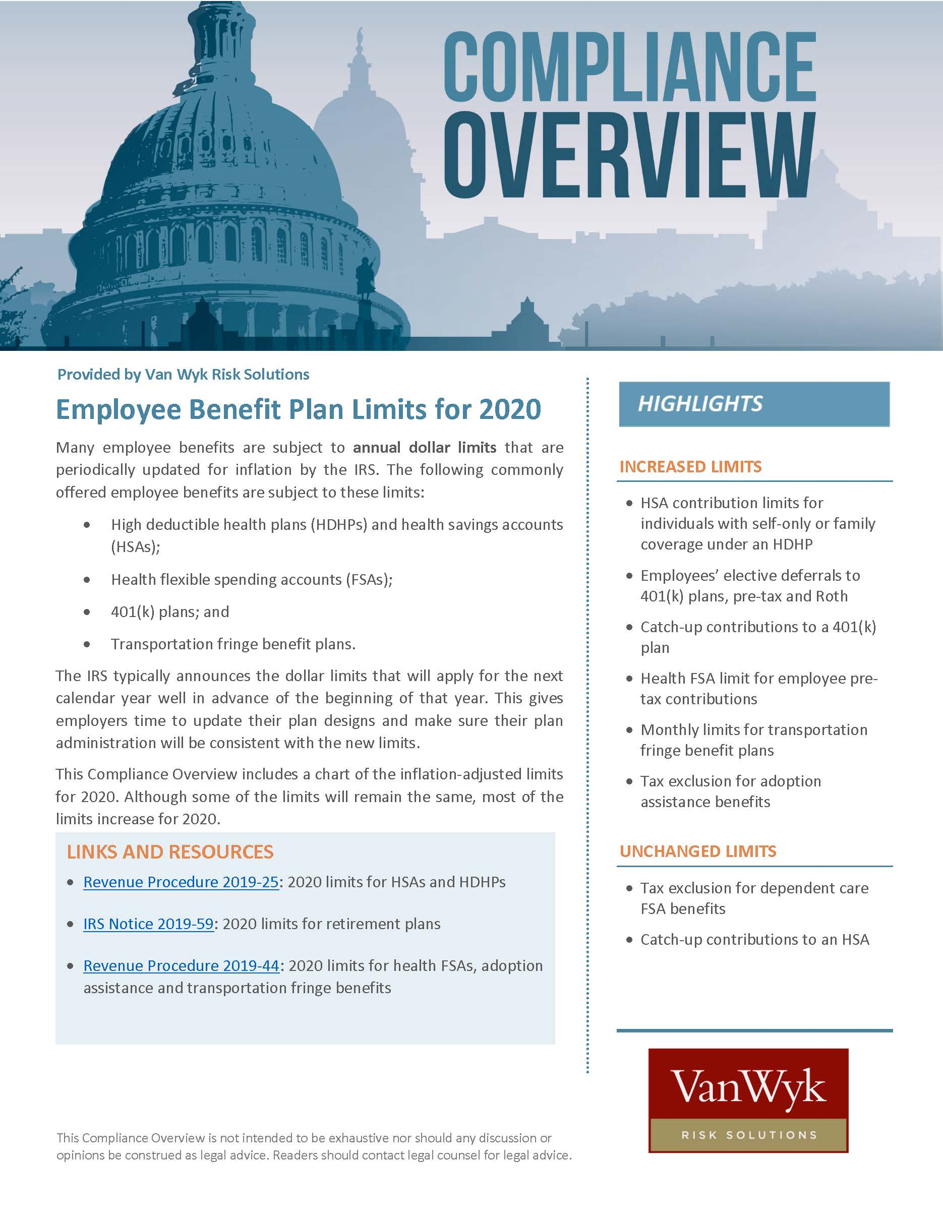 Employee Benefit Plan Limits for 2020