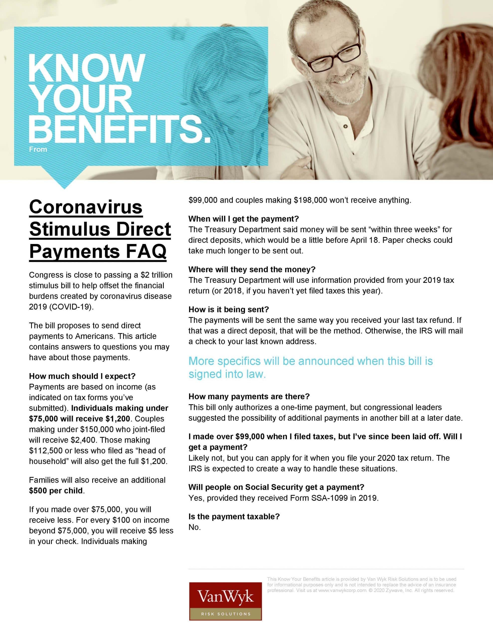 Coronavirus Stimulus Direct Payments FAQ