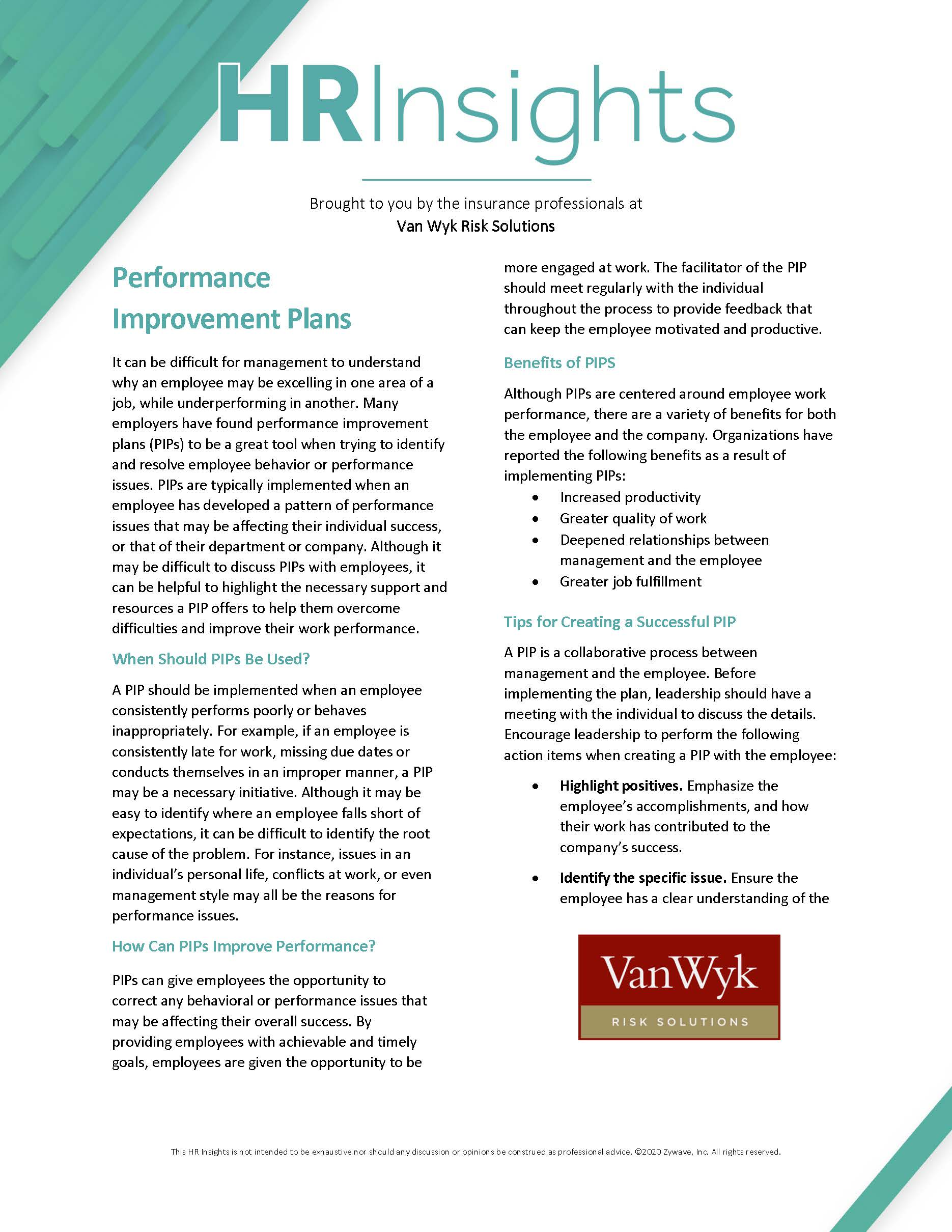HR Insights - Performance Improvement Plans