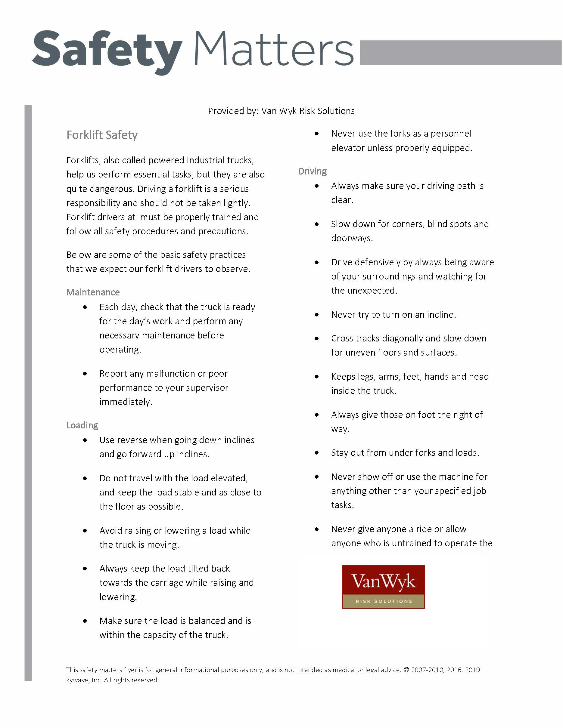 Safety Matters: Forklift Safety